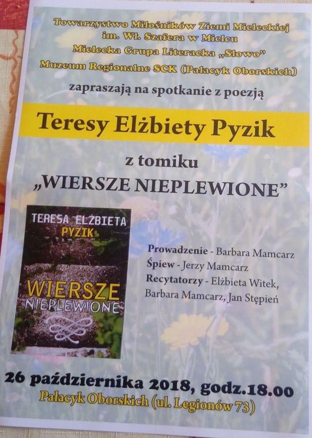 Promocja Tomiku Wiersze Nieplewione Teresy Elżbiety Pyzik